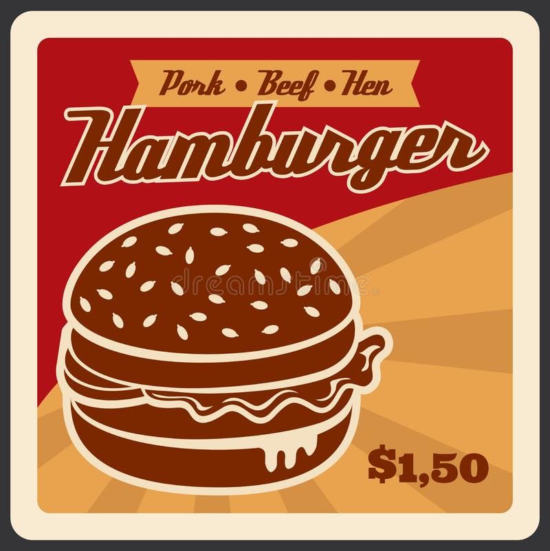 Cartaz retro do vetor para o fast food do Hamburger ilustração stock