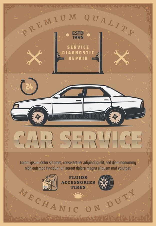 Cartaz retro do vetor do serviço do mecânico de carro ilustração stock