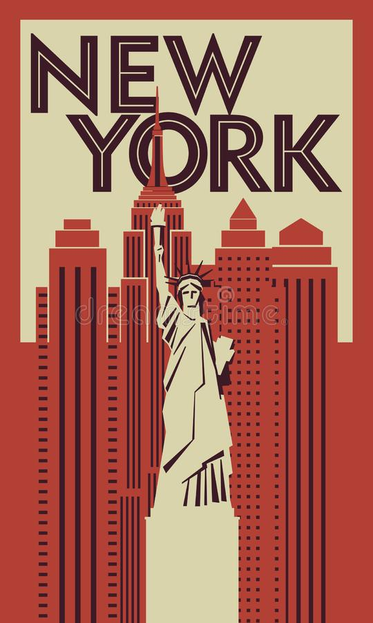 Cartaz retro New York Estátua da liberdade no fundo dos arranha-céus ilustração royalty free