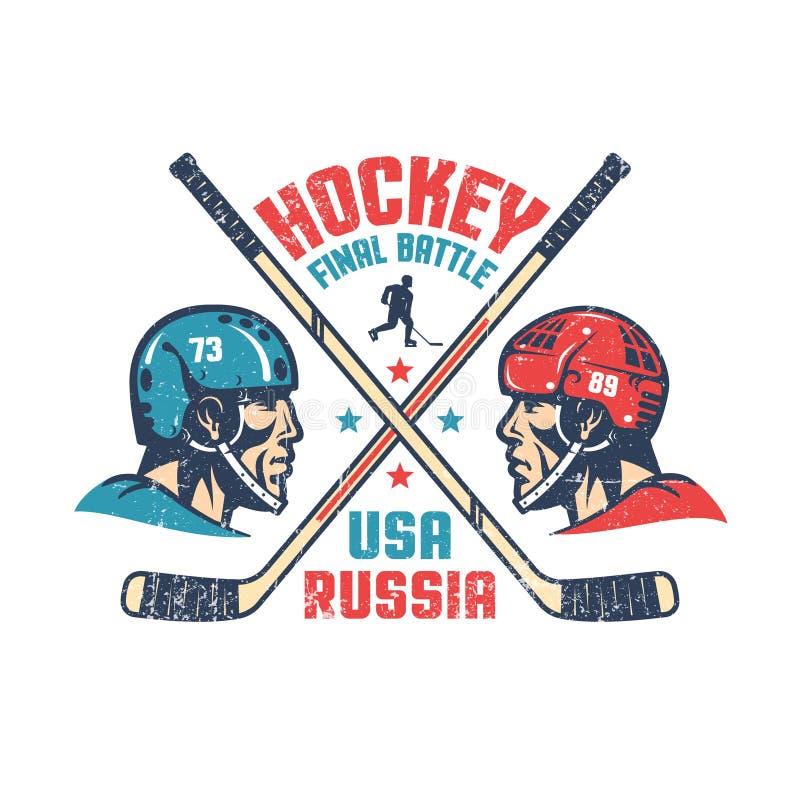 Cartaz retro para a harmonia final do hóquei entre Rússia e o Estados Unidos ilustração do vetor