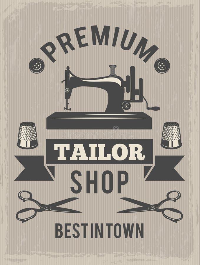 Cartaz retro para a loja do alfaiate Cartaz com símbolos da produção de matéria têxtil ilustração royalty free
