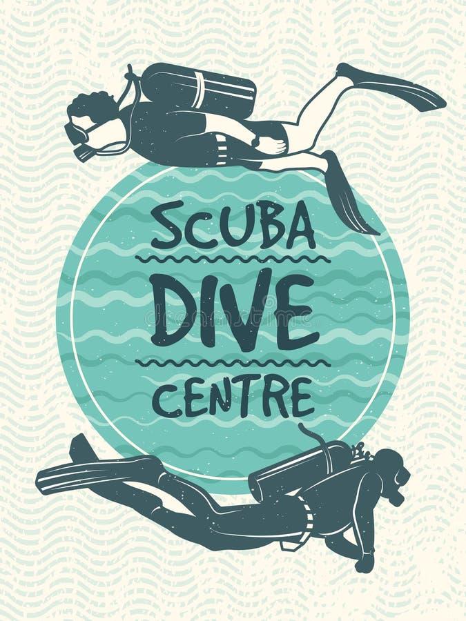 Cartaz retro para o clube de esporte do mergulho Molde do projeto do vetor ilustração stock