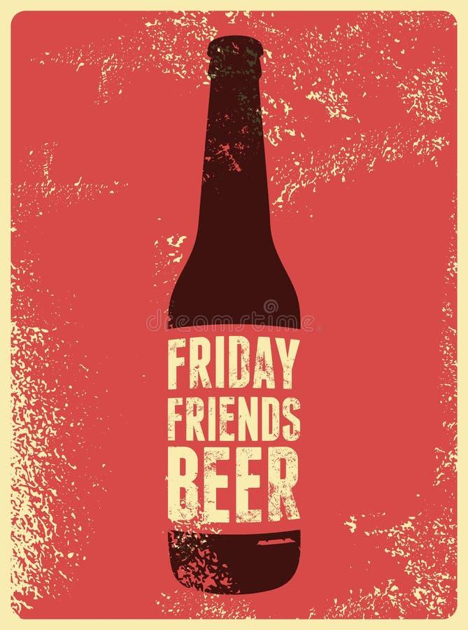 Cartaz retro tipográfico da cerveja do grunge Ilustração do vetor ilustração royalty free