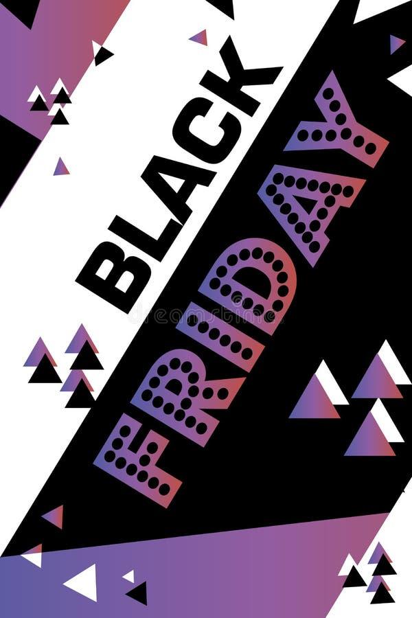 Cartaz roxo sexta-feira preta de compra inseto moderno na moda do dia do desconto folheto para anunciar ilustração do vetor