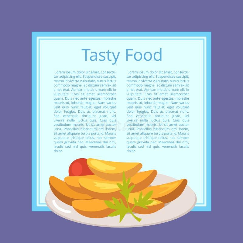 Cartaz saboroso do alimento com as batatas Roasted na placa ilustração stock