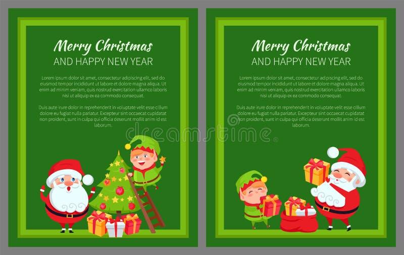 Cartaz Santa do ano novo do Feliz Natal e duende ilustração royalty free