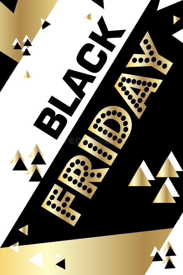 Cartaz sexta-feira preta de compra do ouro inseto moderno na moda do dia do desconto folheto para anunciar ilustração royalty free