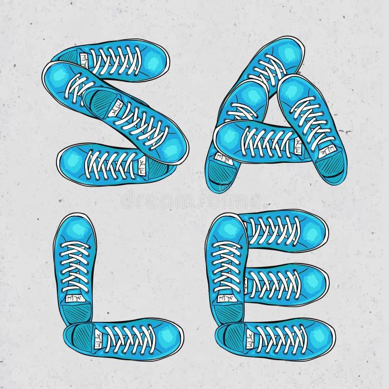 Cartaz Sportingly colorido para anunciar sapatas dos esportes Venda, comprando Vetor ilustração stock