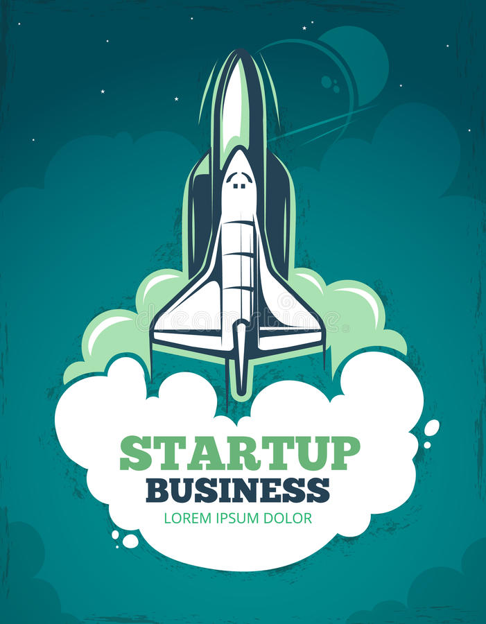 Cartaz Startup do vintage 60s do grunge do vetor com foguete, lançamento da nave espacial ilustração do vetor