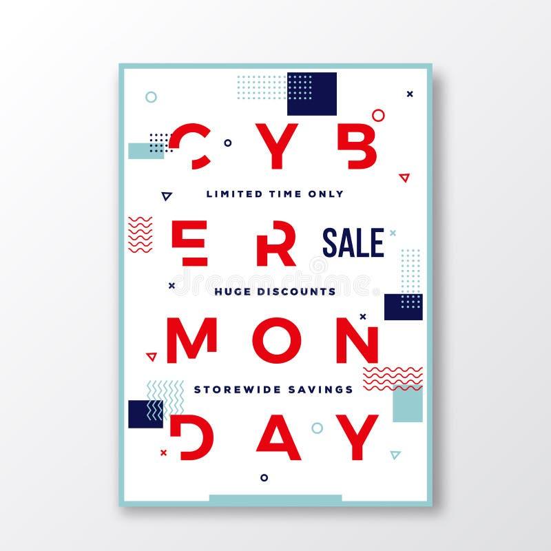 Cartaz suíço do estilo da tipografia moderna de segunda-feira do Cyber Elementos decorativos da geometria e sombra macia ilustração stock
