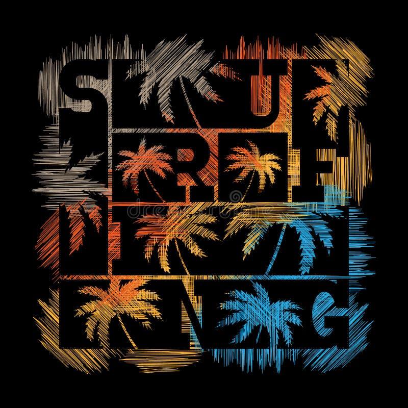 Cartaz surfando da tipografia Projeto da forma do t-shirt ilustração royalty free