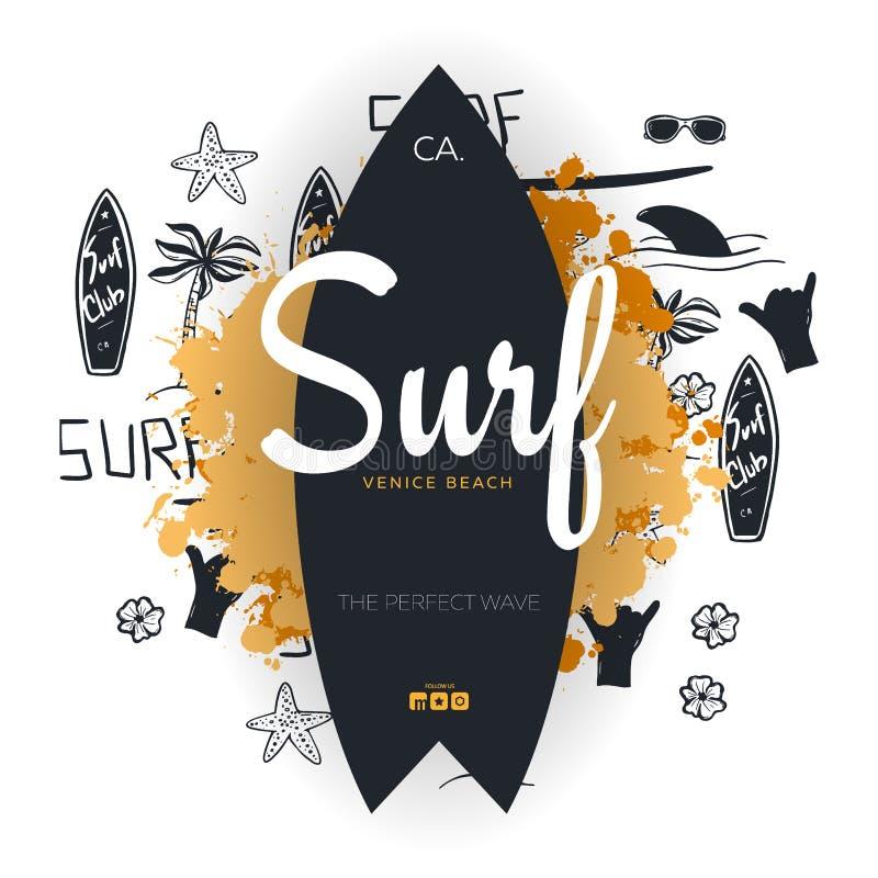 Cartaz surfando do verão para o clube da ressaca ou loja com fundo e prancha da tração da mão ilustração do vetor