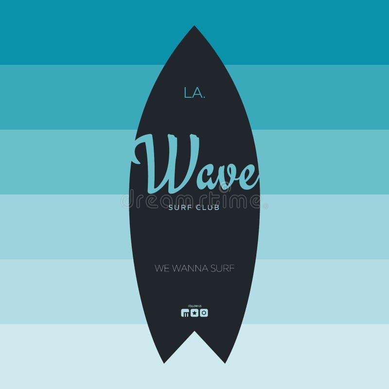 Cartaz surfando do verão para o clube da ressaca ou loja com prancha e fundo colorido do inclinação ilustração do vetor