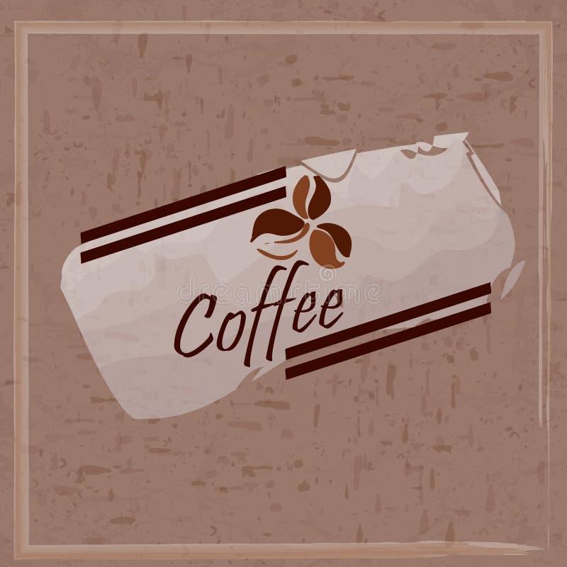 Cartaz, tampa, projeto de pacote, cartão, Web e bandeira do anúncio CAFÉ da inscrição no fundo de manchas do café e ilustração do vetor