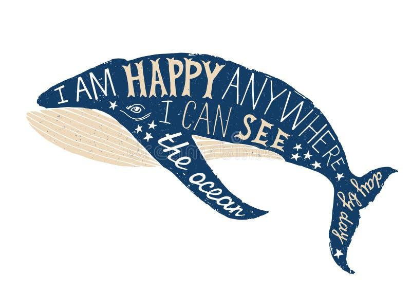 Cartaz tipográfico com baleia ilustração stock