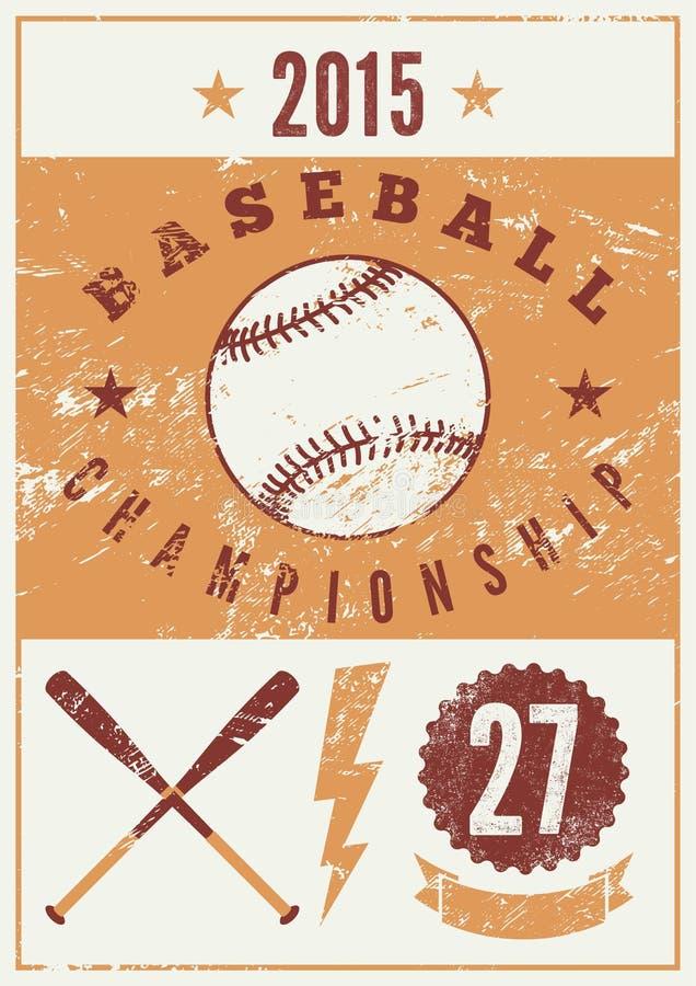 Cartaz tipográfico do estilo do grunge do vintage do basebol Ilustração retro do vetor ilustração do vetor