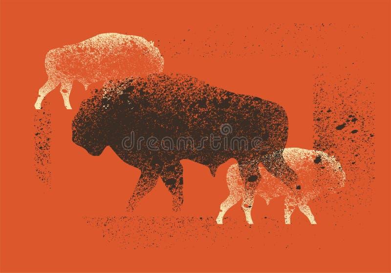 Cartaz tipográfico do estilo do grunge do vintage do pulverizador do estêncil da silhueta do bisonte Ilustração retro do vetor ilustração stock