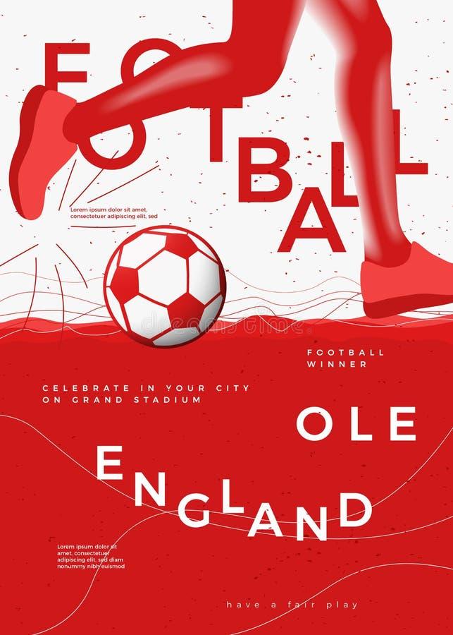 Cartaz tipográfico do futebol do vencedor de Inglaterra do vetor ilustração stock