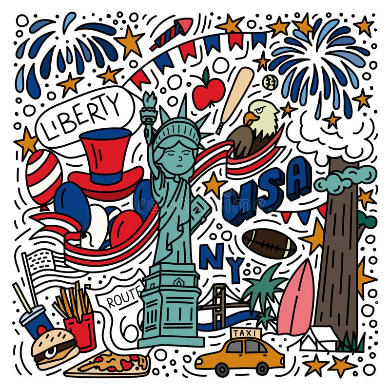 Cartaz tirado do estilo da garatuja dos símbolos mão americana ilustração stock