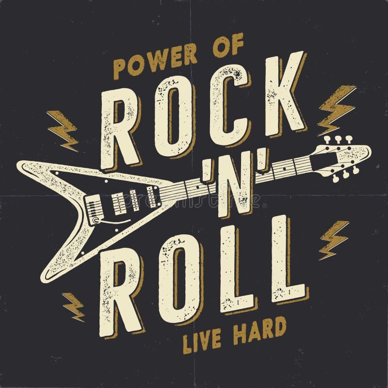 Cartaz tirado mão do rolo da rocha n do vintage, cartaz da música rock Projeto de gráficos duro do T da música T-shirt da música  ilustração royalty free