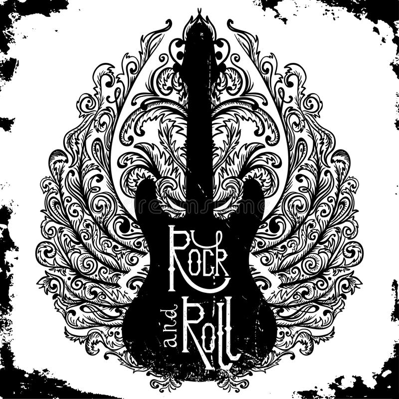 Cartaz tirado mão do vintage com guitarra elétrica, as asas ornamentado e o rock and roll da rotulação no fundo do grunge ilustração royalty free