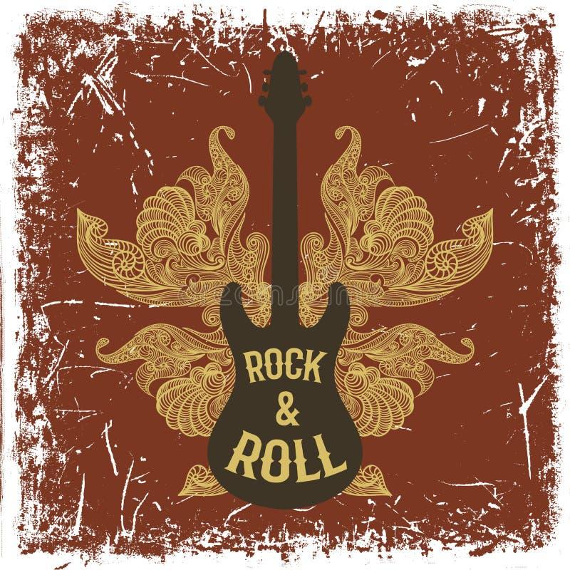 Cartaz tirado mão do vintage com guitarra elétrica, as asas ornamentado e o rock and roll do texto no fundo do grunge ilustração do vetor