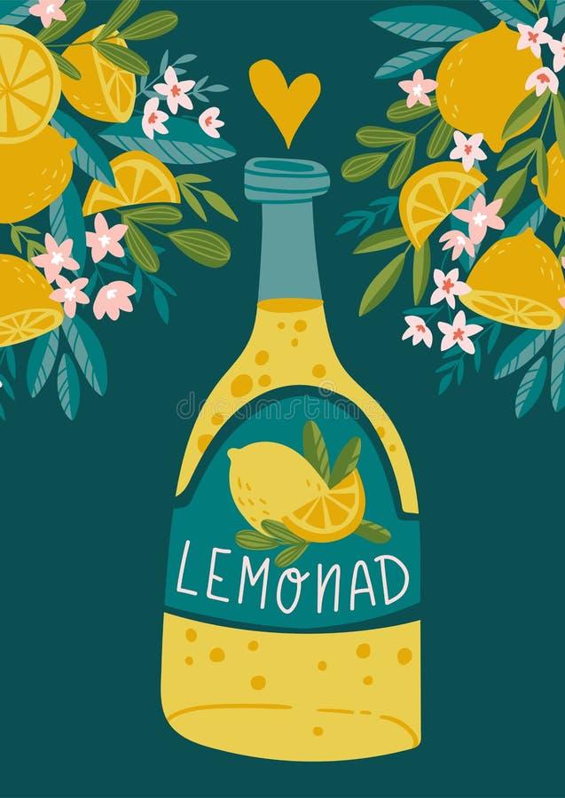 Cartaz tropical do verão Cartão da limonada Batidos tirados mão, limonada, fresca, suco, desintoxicação Ilustração do vetor ilustração stock