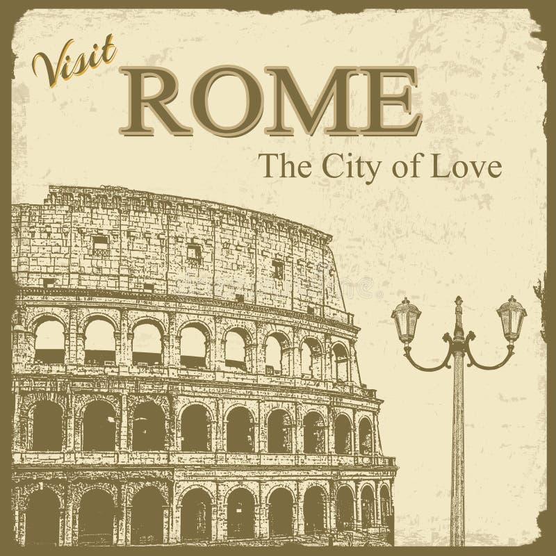 Cartaz turístico do vintage - Roma ilustração do vetor