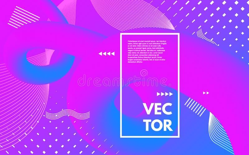 Cartaz ultravioleta com formas abstratas brancas Roxo e molde cor-de-rosa com quadro Tubos e elementos abstratos de cor ilustração do vetor
