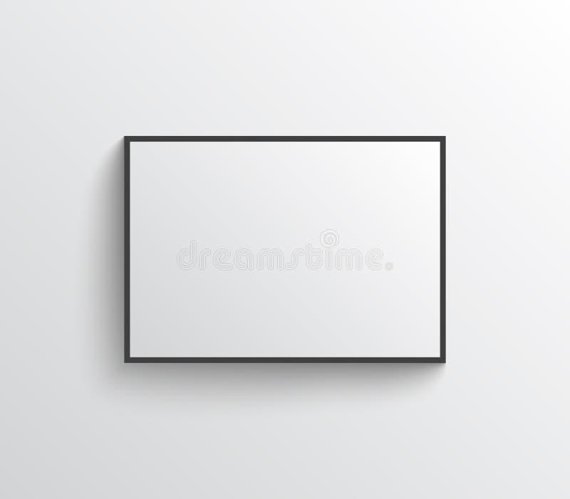 Cartaz vazio branco com o modelo do quadro na parede cinzenta ilustração do vetor