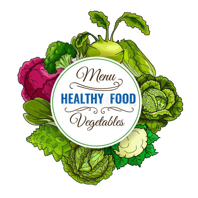 Cartaz vegetal saudável das couves do alimento ilustração royalty free