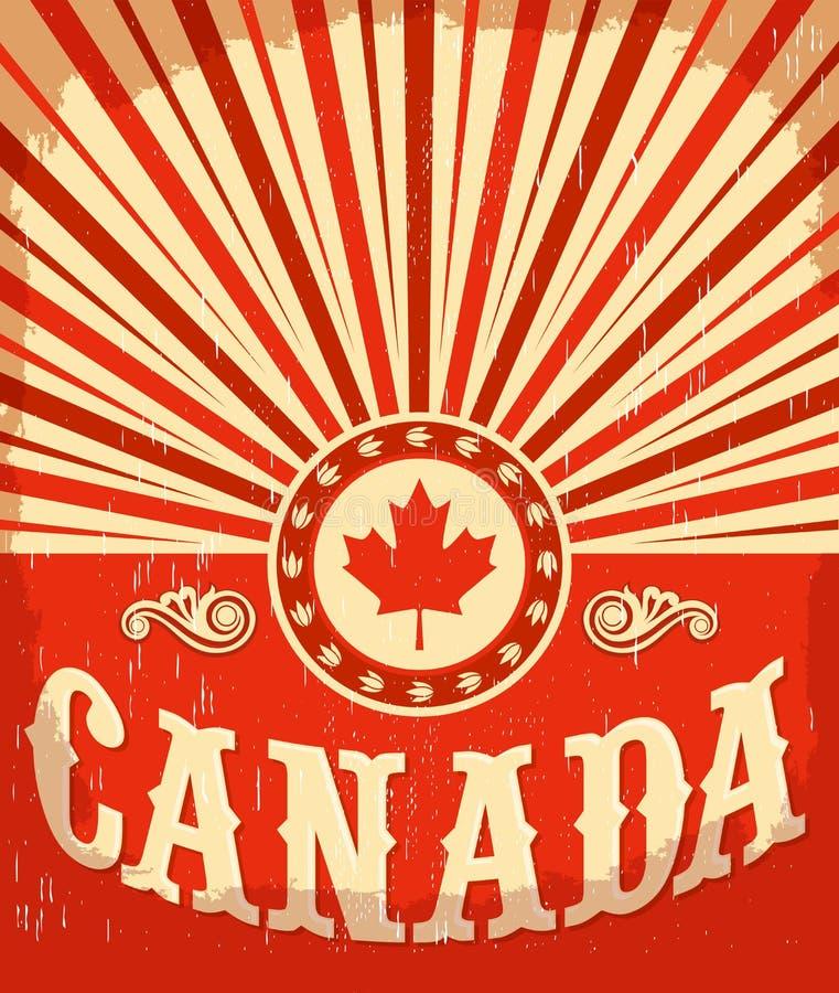 Cartaz velho do vintage de Canadá com cores canadenses da bandeira ilustração do vetor