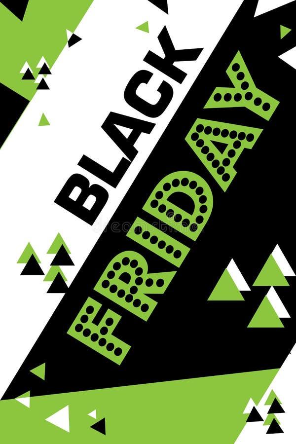 Cartaz verde sexta-feira preta de compra inseto moderno na moda do dia do desconto folheto para anunciar ilustração royalty free