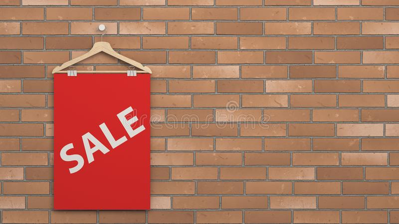 Cartaz vermelho da venda no gancho ilustração royalty free