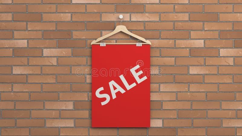 Cartaz vermelho da venda no gancho ilustração stock