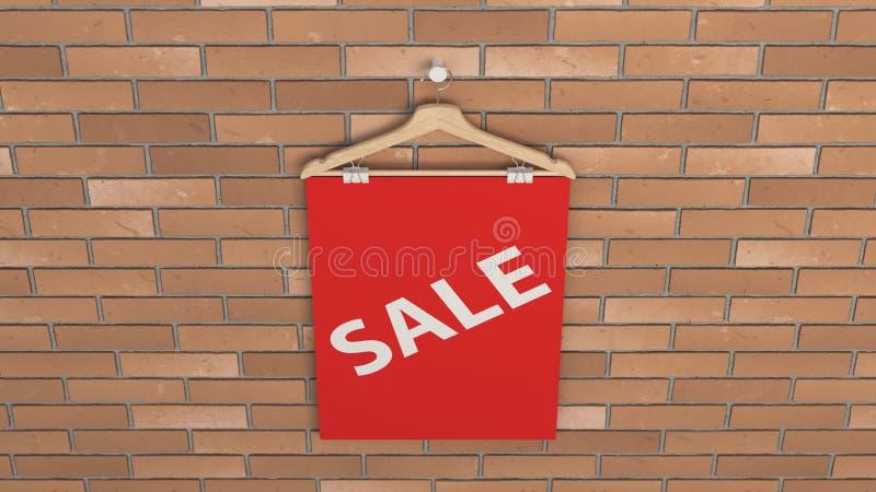 Cartaz vermelho da venda no gancho ilustração do vetor