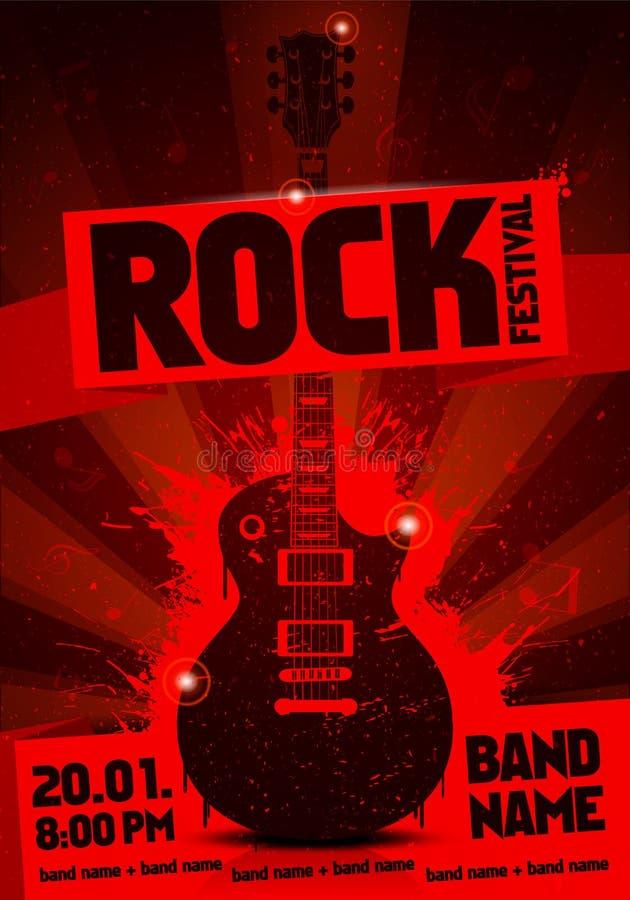 Cartaz vermelho do concerto da etiqueta do grunge do vintage da ilustração do vetor com guitarra ilustração do vetor