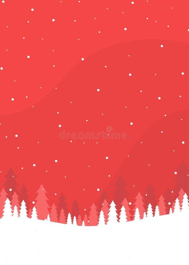 Cartaz vermelho do Natal da paisagem do inverno ilustração do vetor