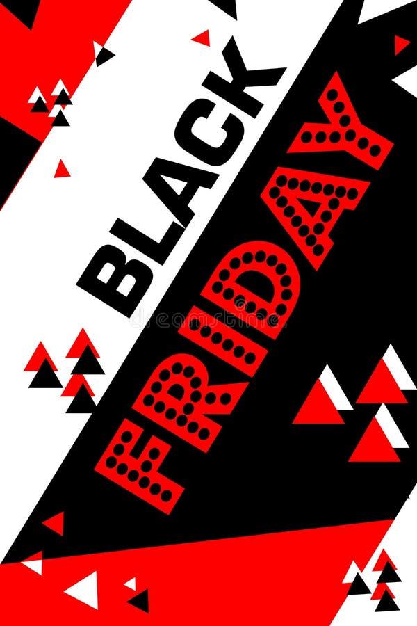 Cartaz vermelho sexta-feira preta de compra inseto moderno na moda do dia do desconto folheto para anunciar ilustração stock