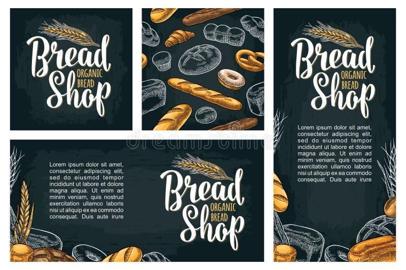 Cartaz vertical com pão Gravura tirada mão do vintage da cor do vetor ilustração stock