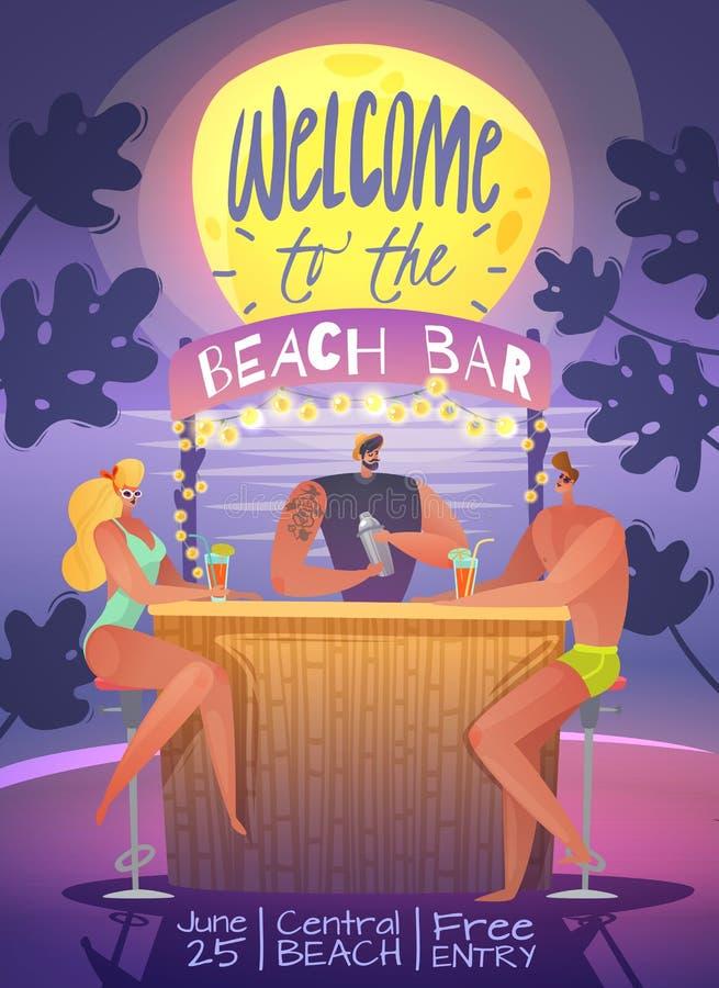 Cartaz vertical do partido de férias de verão ilustração stock