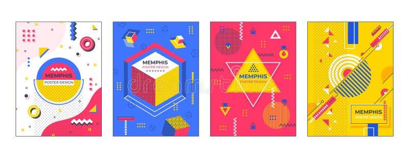 Cartazes abstratos modernos Os fundos geométricos dos quadros de avisos dos insetos das bandeiras de Memphis, vetor criativo do m ilustração do vetor