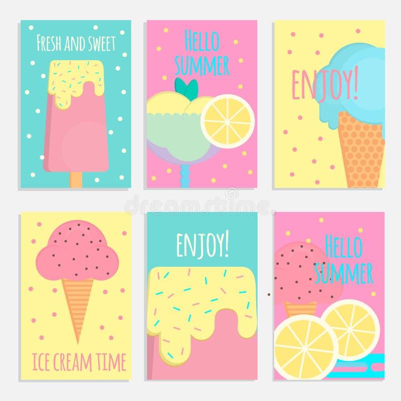 Cartazes, bandeiras e cartões do gelado no estilo liso ilustração royalty free