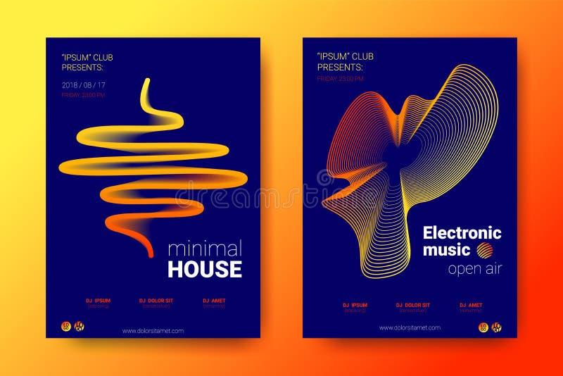 Cartazes coloridos da música com círculos distorcidos onda ilustração stock