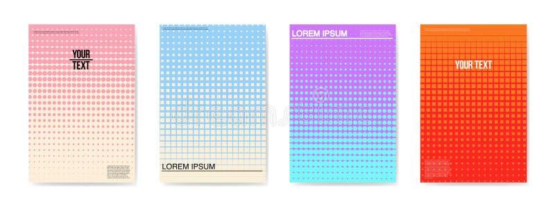 Cartazes criativos abstratos dos cartazes dos cartões ajustados Projeto de intervalo mínimo na moda para bandeiras, tampa do incl ilustração do vetor