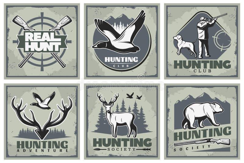 Cartazes da aventura da caça ajustados ilustração stock