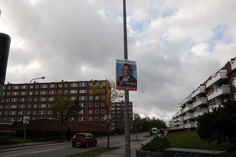 cartazes da eleição do conselho no copenahgen Dinamarca imagens de stock