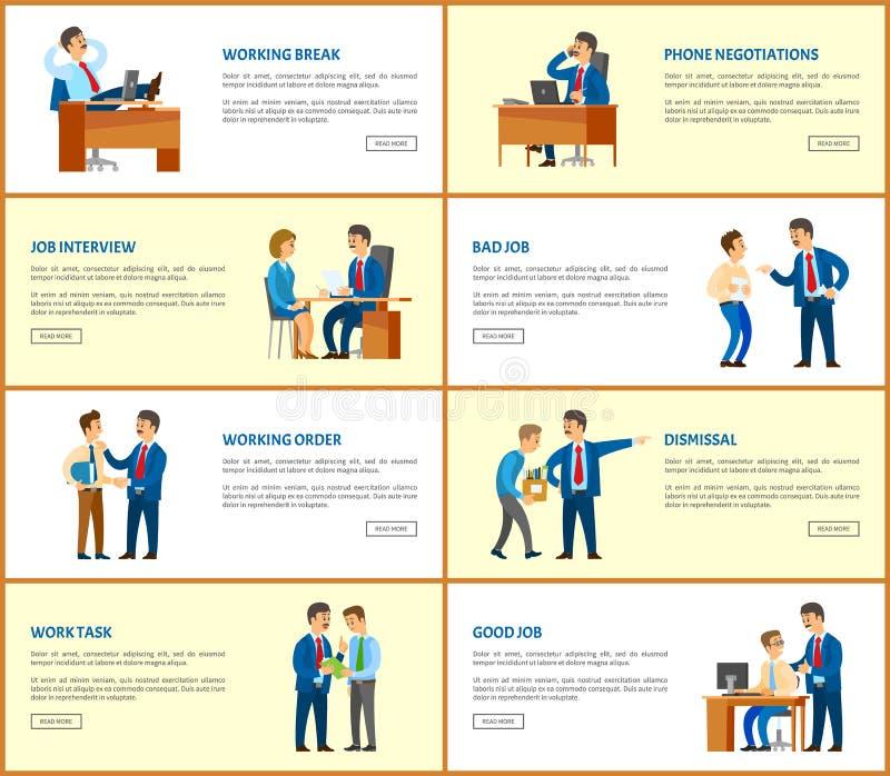 Cartazes da Web do negócio e do trabalho, do chefe e dos empregados ilustração royalty free