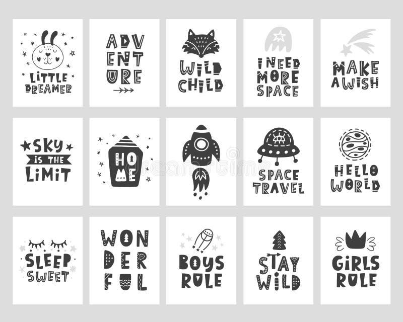 Cartazes das crianças ajustados Cópia criançola da tipografia do estilo escandinavo ilustração royalty free