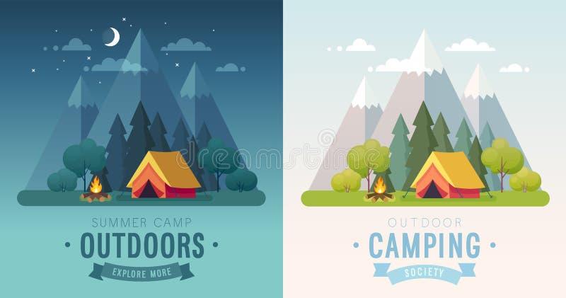 Cartazes de acampamento do gráfico da manhã e da noite do verão Bandeiras com montanhas, árvores, barraca e fogueira ilustração do vetor